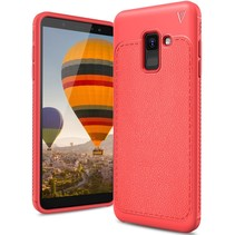 Ivso Litchee Booktype Hoesje Samsung Galaxy A6 2018 - Rood