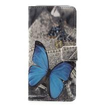 Blauwe Vlinder Booktype Hoesje Samsung Galaxy A6 2018