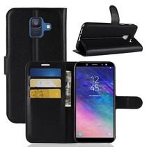 Litchee Booktype Hoesje Samsung Galaxy A6 2018 - Zwart
