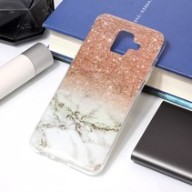 Marmer TPU Hoesje Samsung Galaxy A6 2018 - Grijs