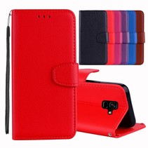 Litchee Booktype Hoesje Samsung Galaxy A6 2018 - Rood
