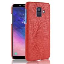 Krokodillen Hardcase Hoesje Samsung Galaxy A6 2018 - Rood