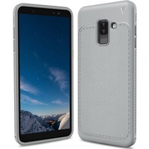 Ivso Litchee Lederen Backcover Hoesje Samsung Galaxy A6 Plus 2018 - Grijs