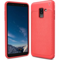 Ivso Litchee Lederen Backcover Hoesje Samsung Galaxy A6 Plus 2018 - Rood