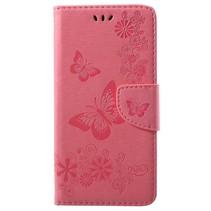 Bloemen Booktype Hoesje Samsung Galaxy A6 Plus 2018 - Roze