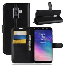 Litchee Booktype Hoesje Samsung Galaxy A6 Plus 2018 - Zwart