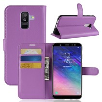 Litchee Booktype Hoesje Samsung Galaxy A6 Plus 2018 - Paars