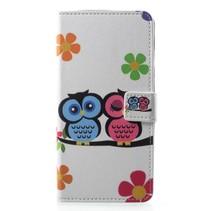 Verliefde uilen en bloemen Booktype Hoesje Samsung Galaxy A6 Plus 2018