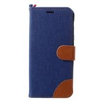 Jeans Booktype Hoesje Samsung Galaxy A6 Plus 2018 - Donker Blauw