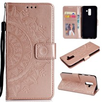 Mandala Booktype Hoesje Samsung Galaxy A6 Plus 2018 - Roze / Goud