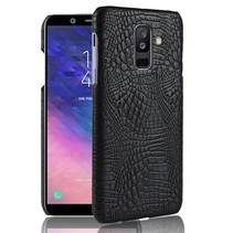 Krokodillen Hardcase Hoesje Samsung Galaxy A6 Plus 2018 - Zwart