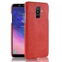 Krokodillen Hardcase Hoesje Samsung Galaxy A6 Plus 2018 - Rood