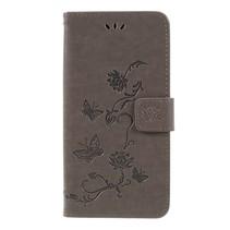 Vlinder en Bloem Booktype Hoesje Samsung Galaxy A7 2018 - Grijs