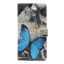 Blauwe Vlinder Booktype Hoesje Samsung Galaxy A7 2018