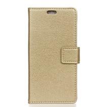 Litchee Booktype Hoesje Samsung Galaxy A7 2018 - Goud