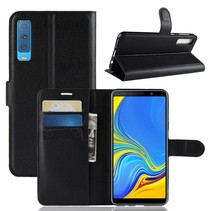 Litchee Booktype Hoesje Samsung Galaxy A7 2018 - Zwart