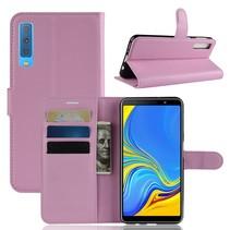 Litchee Booktype Hoesje Samsung Galaxy A7 2018 - Roze