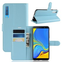 Litchee Booktype Hoesje Samsung Galaxy A7 2018 - Blauw
