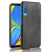 Krokodillen Hardcase Hoesje Samsung Galaxy A7 2018 - Zwart