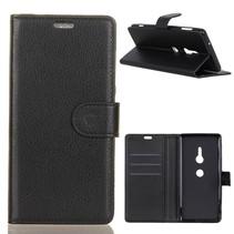 Litchee Booktype Hoesje Sony Xperia XZ3 - Zwart