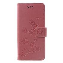 Vlinders Booktype Hoesje Sony Xperia XZ3 - Roze / Goud