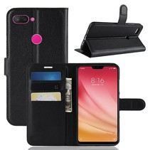 Litchee Booktype Hoesje Xiaomi Mi 8 Lite - Zwart