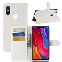 Litchee Booktype Hoesje Xiaomi Mi 8 SE - Wit