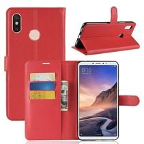 Litchee Booktype Hoesje Xiaomi Mi Max 3 - Rood