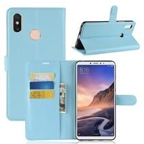 Litchee Booktype Hoesje Xiaomi Mi Max 3 - Blauw