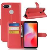 Litchee Booktype Hoesje voor de Xiaomi Redmi 6 - Rood