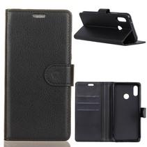 Litchee Booktype Hoesje Xiaomi Redmi S2 - Zwart