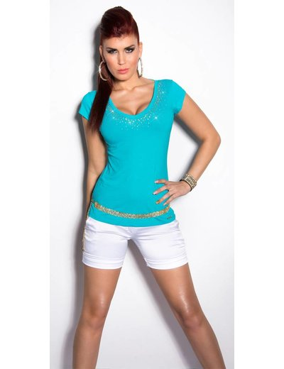 IN-STYLE FASHION TURQUOISE SHIRTJE