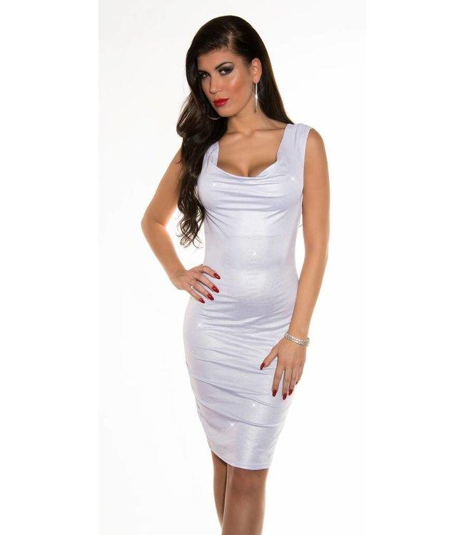 f680bde7a33 midi wetlook jurk wit - MOOS FASHION