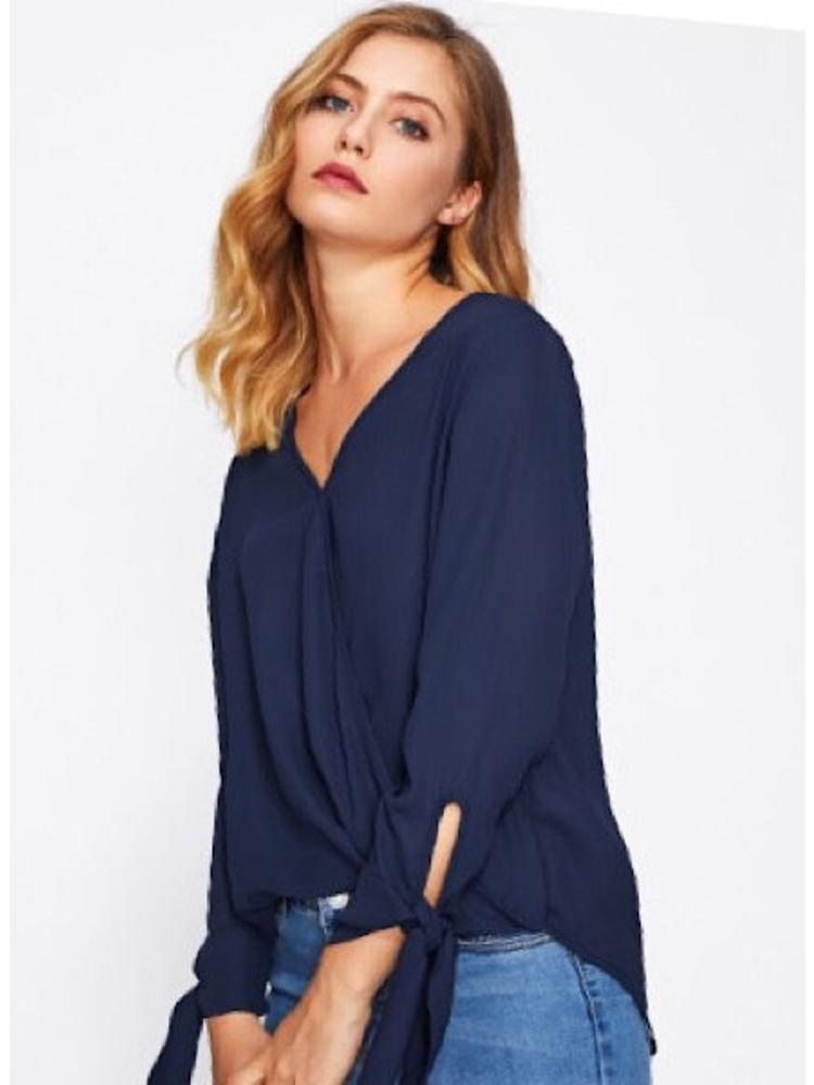 DONKERBLAUW CASUAL OMSLAG BLOUSE