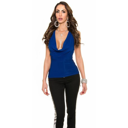 IN-STYLE FASHION SEXY BLAUWE PARTY TOP
