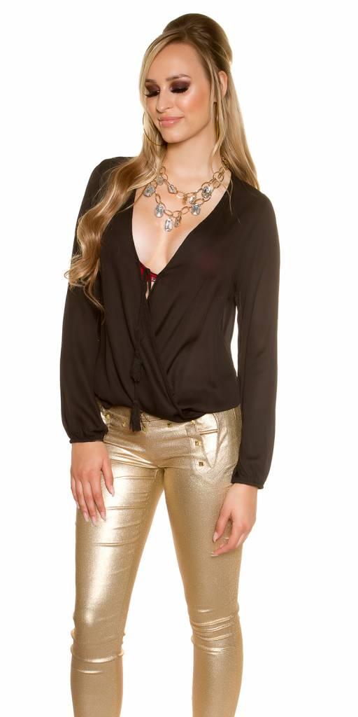 zwarte chiffon blouse