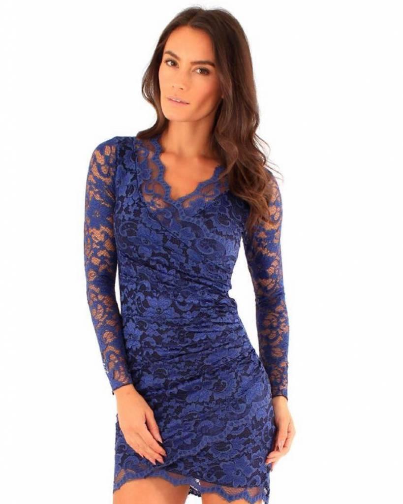 Ongekend blauwe kanten jurk - MOOS FASHION UR-09