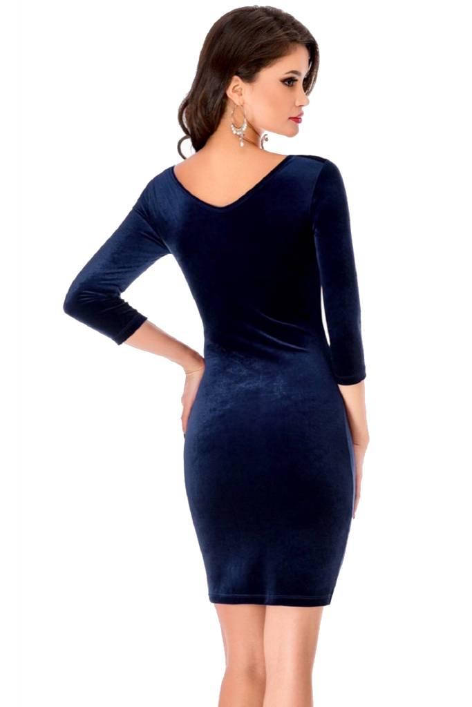 donkerblauwe fluwelen jurk