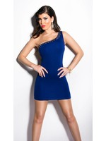 IN-STYLE FASHION BLAUW ONE-SHOULDER JURKJE MET STUDS