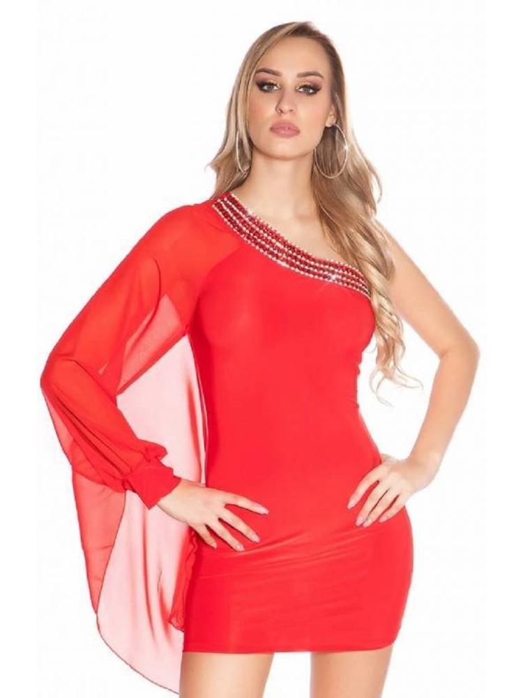 ccc62d240c1606 rood one shoulder party jurkje - MOOS FASHION