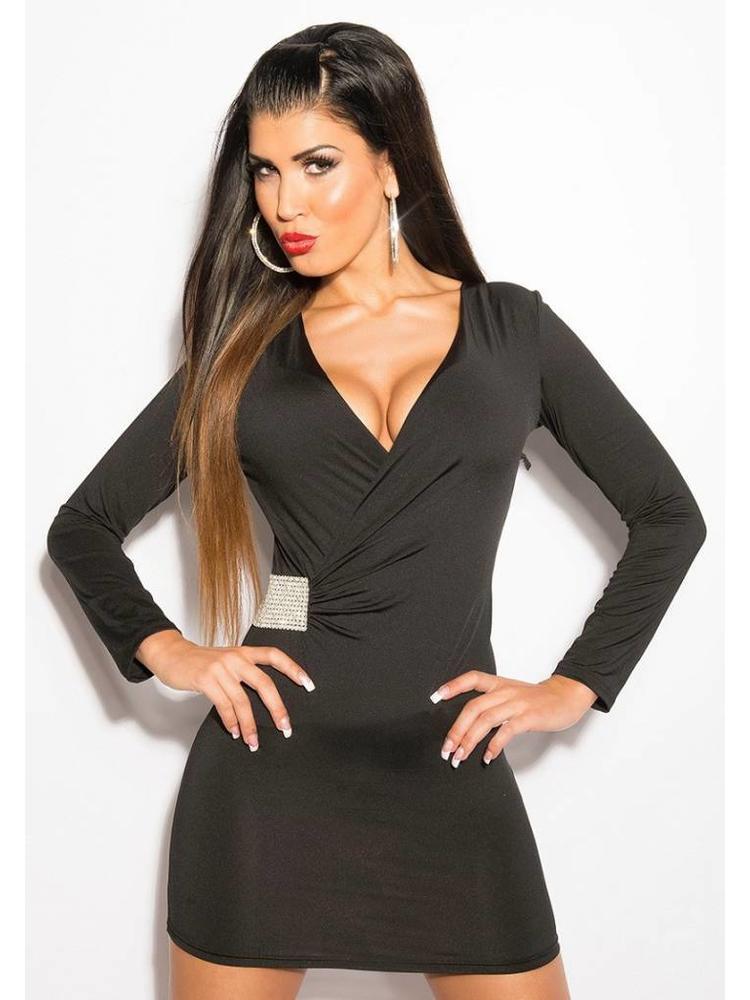 bb187613cf8a48 zwart jurkje lange mouwen - MOOS FASHION