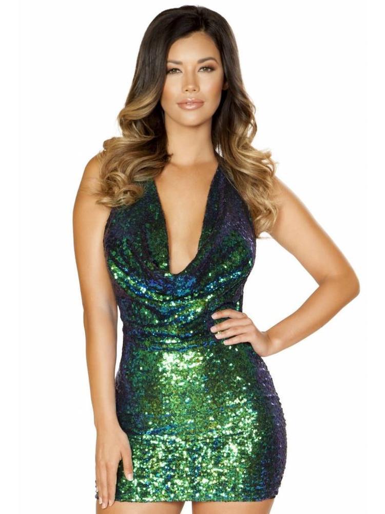 11f7ffe08ec7c8 groen glitter jurkje - MOOS FASHION