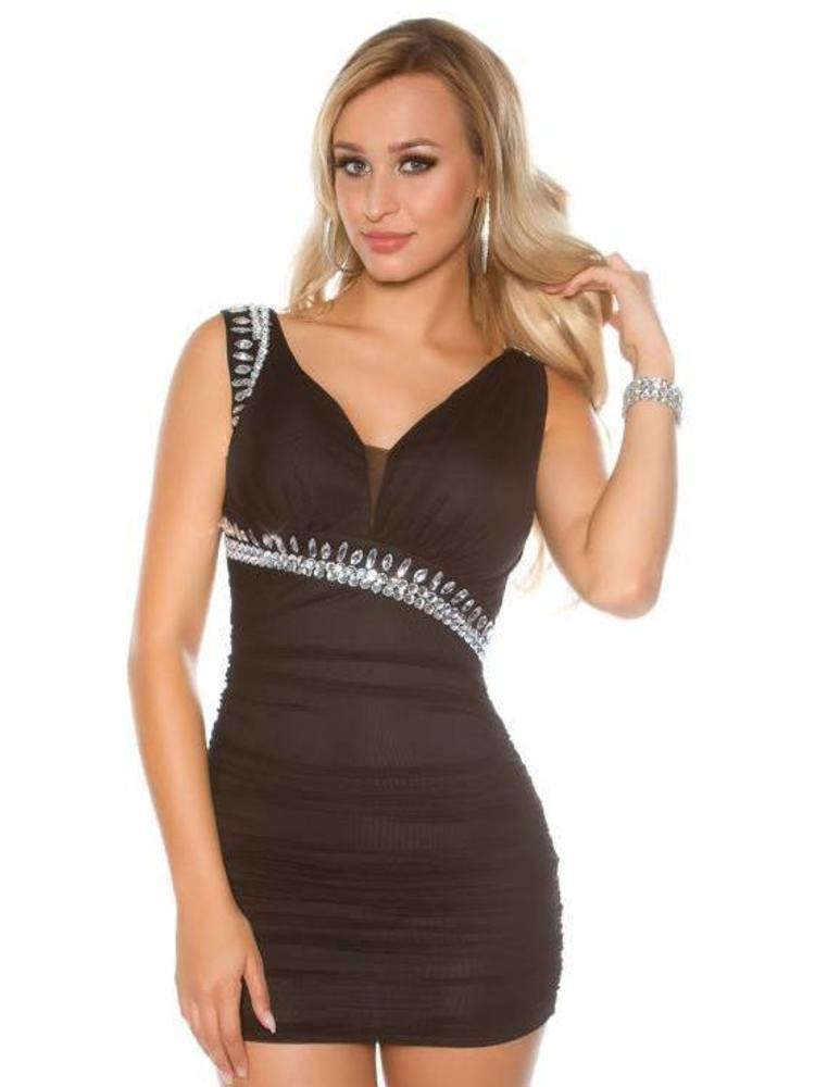 bd27f06242380b sexy zwart jurkje met steentjes - MOOS FASHION