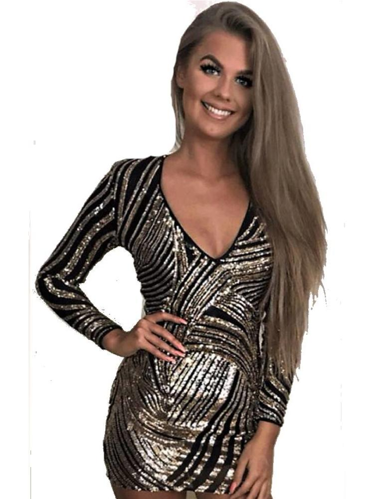 edec32321c75cd glitter jurkje zwart goud - MOOS FASHION