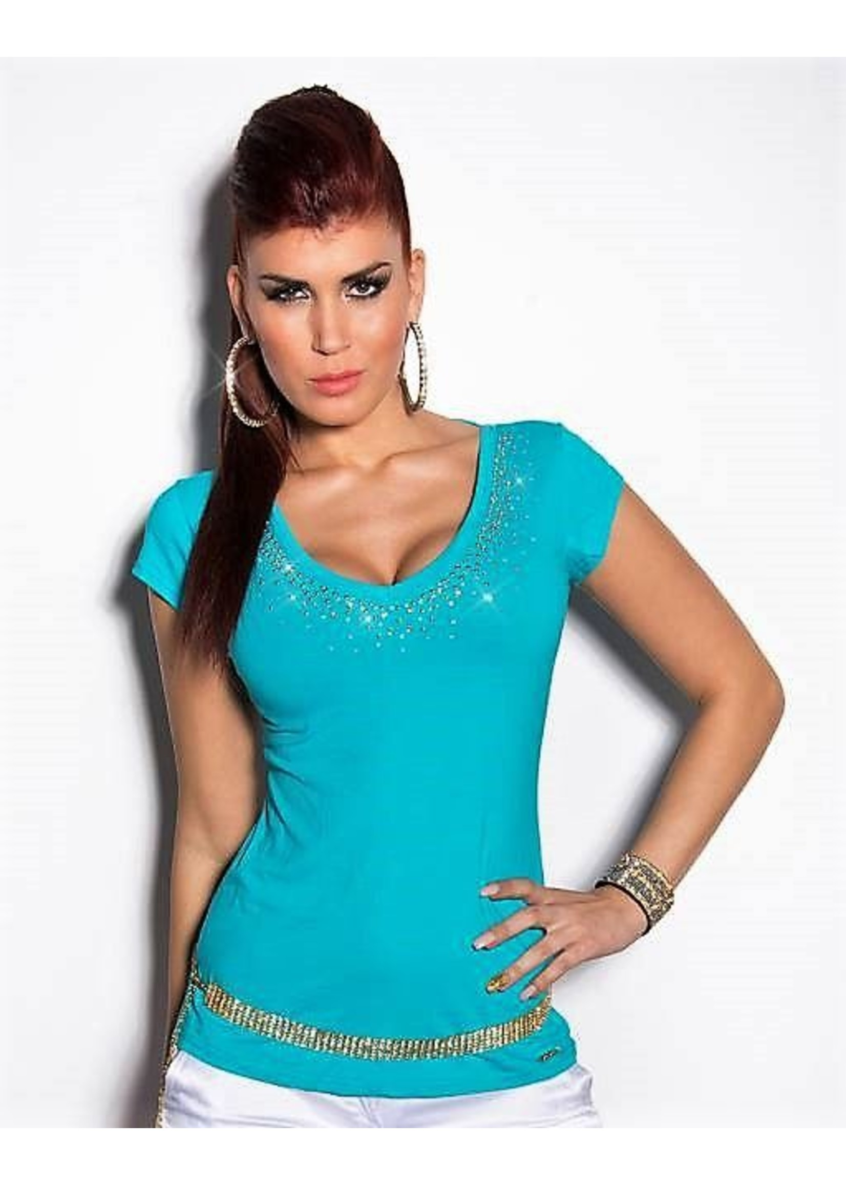 IN-STYLE FASHION TURQUOISE SHIRTJE MET STUDS & STEENTJES
