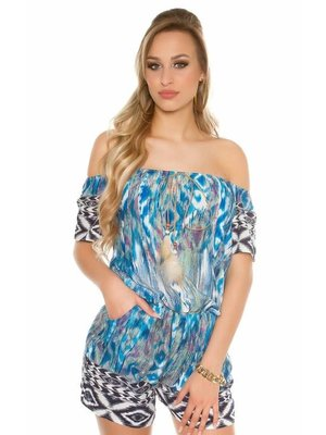 BLAUWE PLAYSUIT OFFSHOULDER