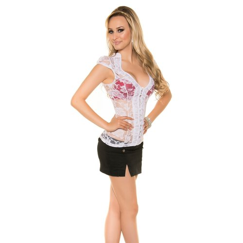 IN-STYLE FASHION WIT KANTEN BLOUSE MET STRASS