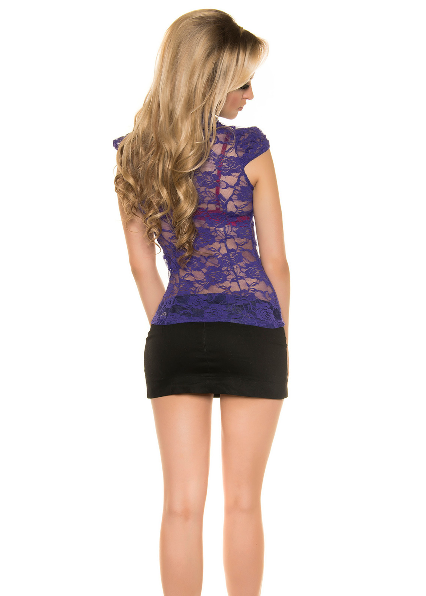 IN-STYLE FASHION PAARSE KANTEN BLOUSE MET STRASS