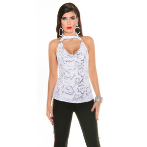 IN-STYLE FASHION WITTE GLITTER TOP