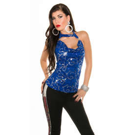 IN-STYLE FASHION KONINGSBLAUWE GLITTER TOP